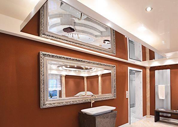 Зеркальный потолок в современном интерьере (фото) Виды зеркальных потолков